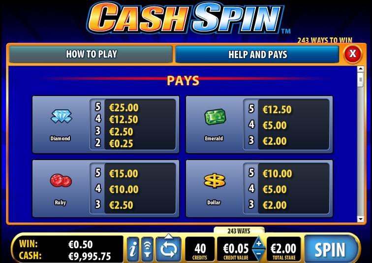 игровой автомат Cash Spin оформление